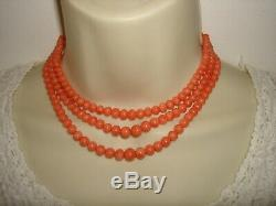 Vintage Bead Salmon Natural Coral 3 Strands Necklace With Clasp
