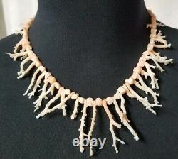 Vintage Branch Coral Pink Branch Skin Coral Bead Necklace (no clasp)