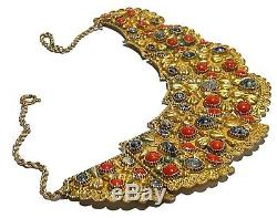 Vintage Brass Coral Beaded Repousse Egyptian Revival Artisan Necklace 72 Grams