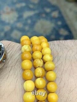 Vintage Butterscotch Amber Necklace Mala 108 Beads 24.5 Grams