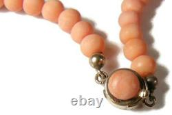 Vintage C1950 Natural Salmon Coral Bead Necklace w 14K Gold & Coral Bead Closure