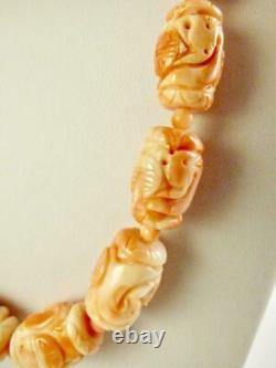 Vintage Carved Angel Skin Coral Shou Dragon Barrel Bead Necklace