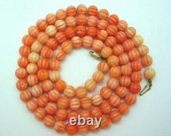Vintage Carved Natural Angel Skin Coral Bead Necklace 68 Grams 31