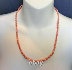 Vintage Carved Red Pink Coral Tulip Flower Beads Beaded Graduated NECKLACE