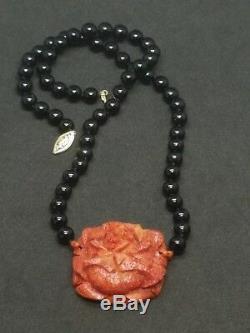 Vintage Carved Sponge Coral Rose Black Onyx Bead 14k Gold Clasp Necklace