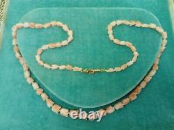 Vintage Carved Tulips Angel Skin Coral Beads Necklace 14ct Gold Clasp