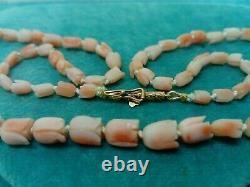 Vintage Carved Tulips Angel Skin Coral Beads Necklace 14ct Gold Safety Clasp