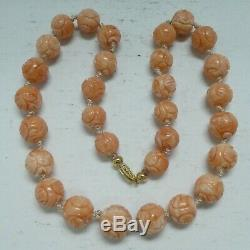 Vintage Chinese Carved Natural Coral Beads Necklace 58 Grams 10 MM To 13 MM 18