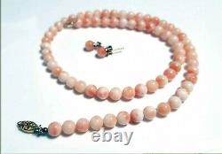 Vintage Chinese Genuine Pink Coral Round Bead Necklace & Earrings G+G