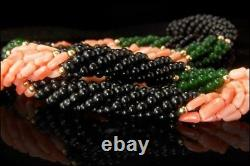 Vintage Chinese Multistrand Pink Coral Onyx Beads Necklaces D104-03