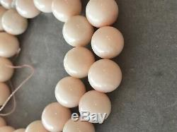 Vintage Chinese Natural Pink Angel Skin Coral Bead Necklace 86 Grams 20 10 mm