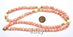 Vintage Chinese Salmon Coral Carved Carving Bead 12K Gold Clip Necklace