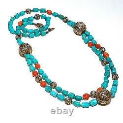 Vintage Chinese Turquoise Bead Necklace Multi Strand Coral Silver Filigree ATQ