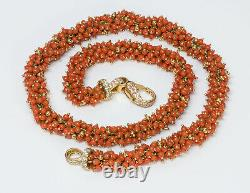 Vintage Coral 18K Yellow Gold Diamond Bead Necklace