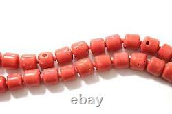Vintage Coral Bead Necklace Salmon Colored Strand 24