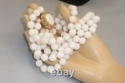 Vintage Double Strand 20 Angel Skin Coral Bead Necklace 9.5 mm Beads