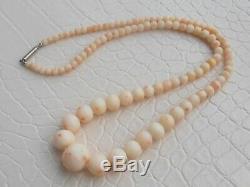 Vintage Edwardian Graduated Angel Skin Coral Bead Necklace