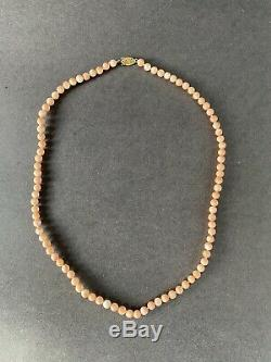 Vintage Estate 14K Yellow Gold & Angel Skin Coral Knotted Bead Necklace 5mm