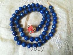 Vintage, Estate 14 k Salmon Coral Turquoise Clasp, Lapis Lazuli Bead Necklace