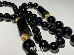 Vintage Estate 14k Gold & Natural Black Graduated Coral Bead Necklace 27