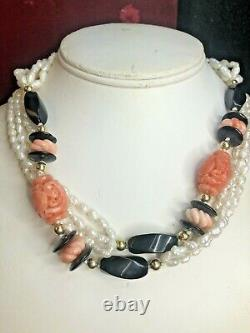 Vintage Estate Angel Skin Pink Coral Freshwater Pearl Necklace Gemstone