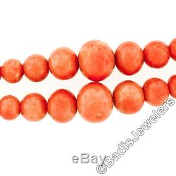 Vintage Graduated Dual Strand Salmon Coral Bead Necklace Etched 14k Gold Clasp