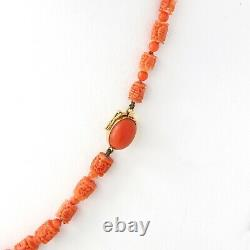 Vintage, Hand Carved Italian Coral Bead Necklace, Asian Motif, 18K Gold Rondells