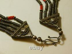 Vintage Indian Ethnic Silver Bib Spice Red Coral Bead 5 strand Necklace 11i 16