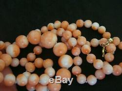 Vintage Large Natural Chinese Angel Skin Coral Beads Necklace 34 Ins 52 Grams