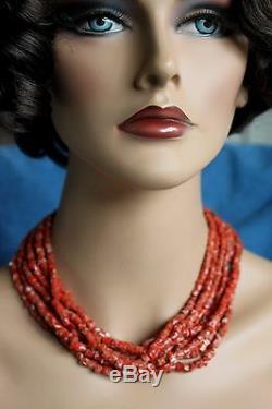 Vintage Large RED CORAL Navajo Big Stamped Sterling Silver Clasp Bead Necklace