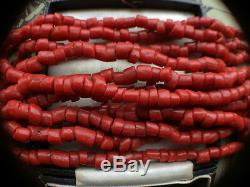 Vintage MID Century Red Coral Necklace Rare Old Trade Beads Tribal Excellent Con