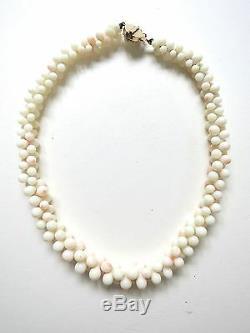 Vintage Natural Angel Skin Coral Necklace Graduated Beads 14k Carved Clasp