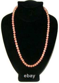 Vintage Natural Chinese Salmon Coral Bead 22 Necklace 10K Gold Closure 43gm