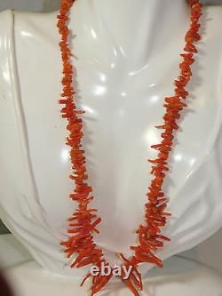Vintage Natural Salmon Branch Coral Graduated Bead 20 Necklace 30grams 6d 82