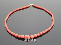 Vintage Natural Salmon Coral Bead Necklace 17.4g