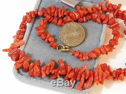 Vintage Natural Undyed Spice Red Branch Coral Graduated Bead 16 Necklace 7g 86