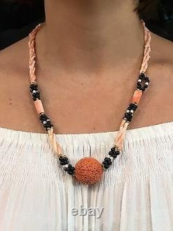 Vintage Natural Untreated Salmon Pink & White Coral, Onyx Beaded Woven Necklace