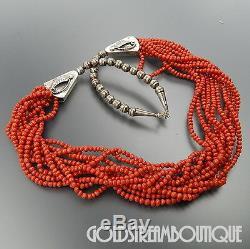 Vintage Navajo Santo Domingo Sterling Silver Coral Beads 10 Strands Necklace 31