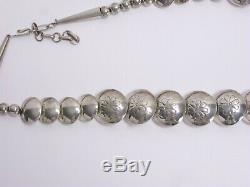 Vintage Navajo Sterling Silver Coral Stamped Pillow Bead Disc 26 Necklace 71g