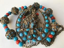 Vintage Nepal Tibet Carved Goddess Pendant Necklace Coral Turquoise Trade Beads