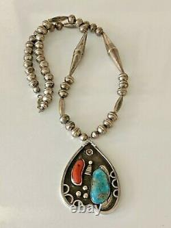 Vintage Old Pawn Sterling Silver Bench Bead Turquoise Coral Pendant Necklace 925
