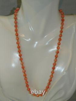 Vintage Peach Salmon 5mm Coral Bead strand 14k Gold filled 17 Necklace 9d 7