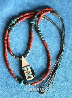 Vintage Pueblo Kewa Inlay Turquoise Coral Silver Bead Double Layering Necklace