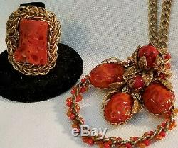 Vintage, Rare Miriam Haskell Gold Tone, Orange Faux Coral/beads Ring & Necklace