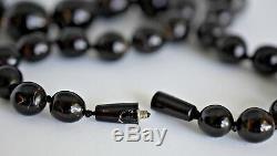 Vintage Rare Size 21-9mm Natural Black Coral 66 Gram Beads Estate 21 Necklace