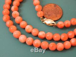 Vintage Real Peach Salmon Coral 6mm Bead 36g Strand 25 Necklace 7g 101