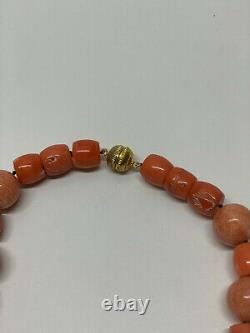 Vintage Red Coral 19 inch Necklace Large Beads Gold plated Magnet Clasp