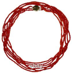 Vintage Retro 14K Gold Ox-Blood Red Coral Bead 36 Opera Three Strand Necklace