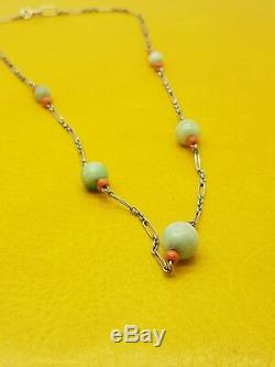 Vintage Retro Jade & Coral Beaded Necklace 9ct White Gold Chain Good Condition
