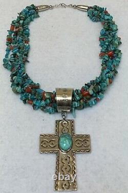 Vintage Santo Domingo Turquoise Red Coral Beads Silver Cross Pendant Necklace